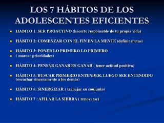 LOS 7 H BITOS DE LOS ADOLESCENTES EFICIENTES