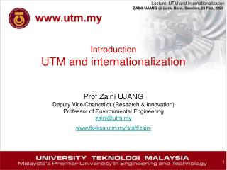Introduction UTM and internationalization