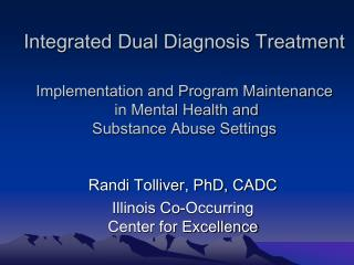 Randi Tolliver, PhD, CADC Illinois Co-Occurring  Center for Excellence