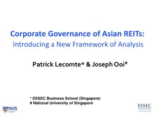 Corporate Governance of Asian REITs: