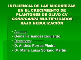 INFLUENCIA DE LAS MICORRIZAS EN EL CRECIMIENTO DE PLANTONES DE OLIVO CV CORNICABRA MULTIPLICADOS BAJO NEBULIZACI N