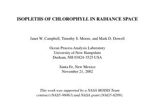ISOPLETHS OF CHLOROPHYLL IN RADIANCE SPACE