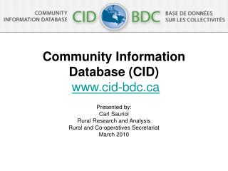 Community Information Database (CID) cid-bdc