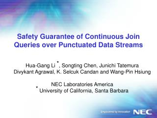 Safety Guarantee of Continuous Join Queries over Punctuated Data Streams