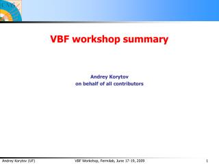 VBF workshop summary Andrey Korytov on behalf of all contributors