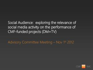 Advisory Committee Meeting – Nov 1 st  2012