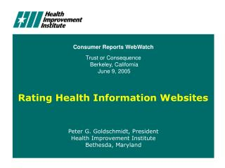 Rating Health Information Websites