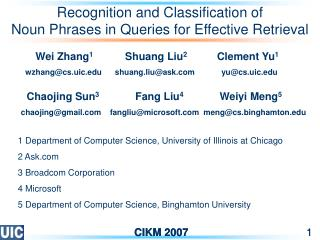 Recognition and Classification of Noun Phrases in Queries for Effective Retrieval