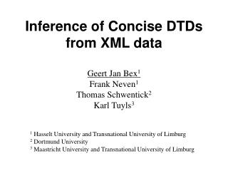 Inference of Concise DTDs from XML data
