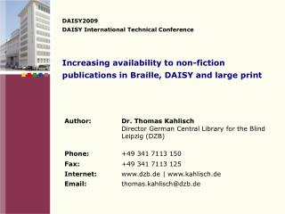 Increasing availability to non-fiction publications in Braille, DAISY and large print