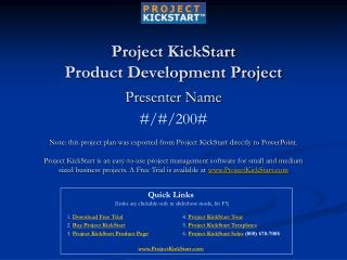 Project KickStart Product Development Project