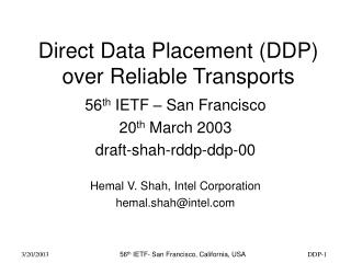 Direct Data Placement (DDP) over Reliable Transports