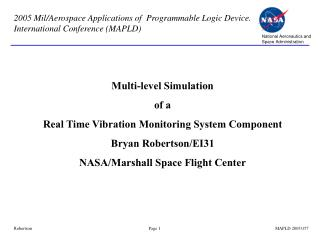 Multi-level Simulation  of a  Real Time Vibration Monitoring System Component Bryan Robertson/EI31