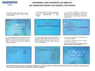 CONVERSIÓN  A MULTI-REGIÓN DE LOS MODELOS: DHC-XD600NT,DHC-XD500NT, DHC-XD350NT y DHC-XD300NT