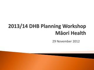 2013/14 DHB Planning Workshop Māori Health