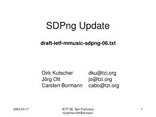 SDPng Update
