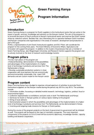 Green Farming Kenya Program Information