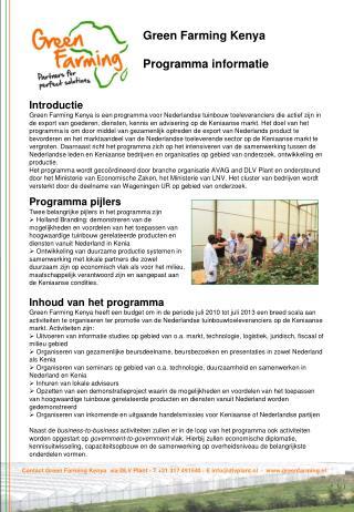 Green Farming Kenya Programma informatie