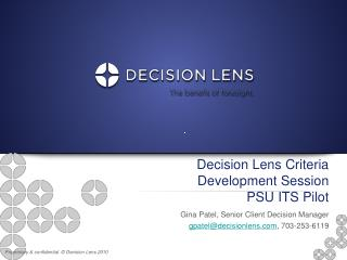 Decision Lens Criteria Development Session PSU ITS Pilot