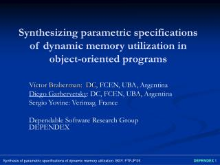Synthesizing parametric specifications of dynamic memory utilization in object-oriented programs
