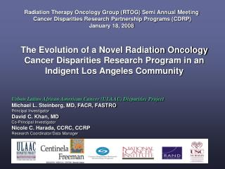 Radiation Therapy Oncology Group RTOG Semi Annual Meeting  Cancer Disparities Research Partnership Programs CDRP January