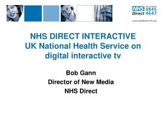 NHS DIRECT INTERACTIVE UK National Health Service on digital interactive tv