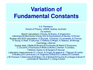 Variation of Fundamental Constants