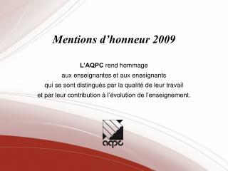 Mentions d honneur 2009