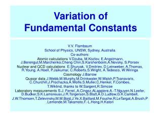 Variation of Fundamental Constants