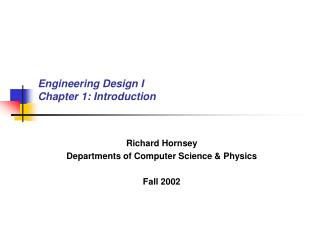 Engineering Design I Chapter 1: Introduction
