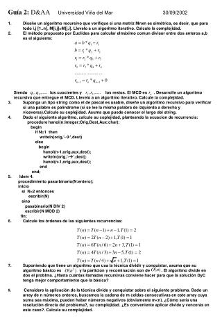 Guía 2:  D&AA      Universidad Viña del Mar 30/09/2002