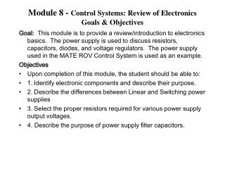 Module 8 -  Control Systems: Review of Electronics Goals & Objectives