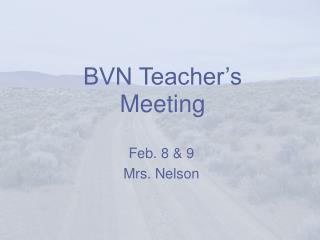 BVN Teacher's Meeting