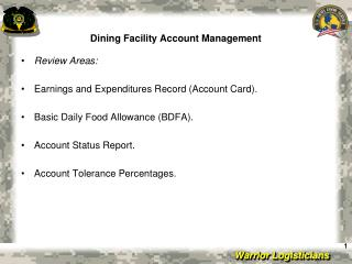 Dining Facility Account Management
