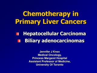 Chemotherapy in Primary Liver Cancers