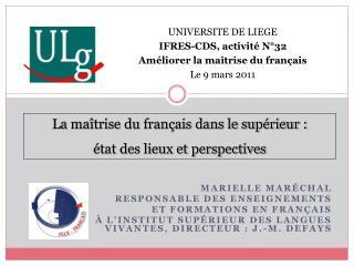 Marielle Maréchal Responsable des enseignements  et formations en français