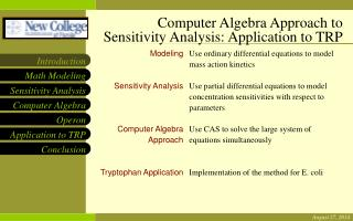 Computer Algebra Approach to Sensitivity Analysis: Application to TRP