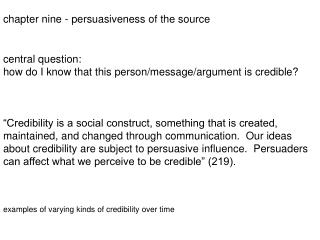 chapter nine - persuasiveness of the source