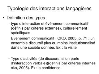 Typologie des interactions langagières