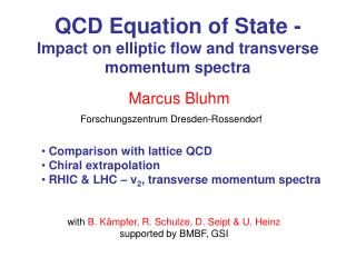 QCD Equation of State -  Impact on elliptic flow and transverse momentum spectra