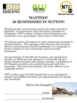 WANTED!! 20 BUSINESSES IN SUTTON!