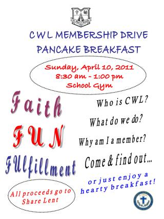 Sunday, April 10, 2011 8:30 am - 1:00 pm School Gym