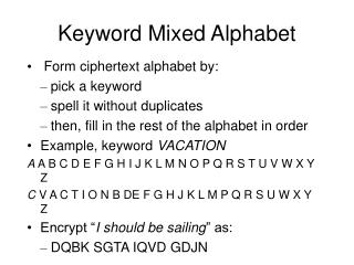 Keyword Mixed Alphabet
