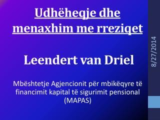 Udhëheqje dhe menaxhim me rreziqet  Leendert van Driel