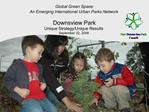 Global Green Space:  An Emerging International Urban Parks Network   Downsview Park  Unique Strategy