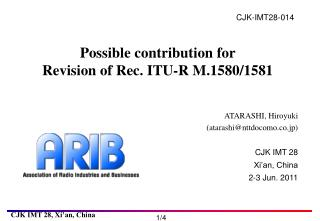 Possible contribution for Revision of Rec. ITU-R M.1580/1581