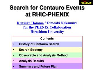 Search for Centauro Events  at RHIC-PHENIX