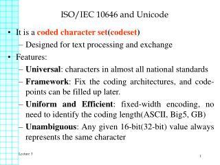 ISO/IEC 10646 and Unicode