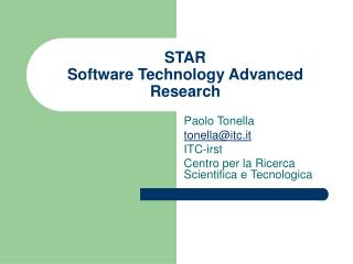 STAR Software Technology Advanced Research