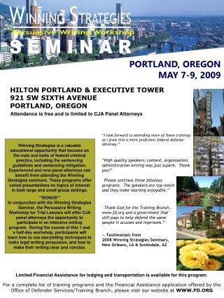-- Testimonials from 2008 Winning Strategies Seminars,  New Orleans, LA & Scottsdale, AZ